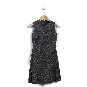 CO Dress Gray A Line Box Pleated Embellished XS